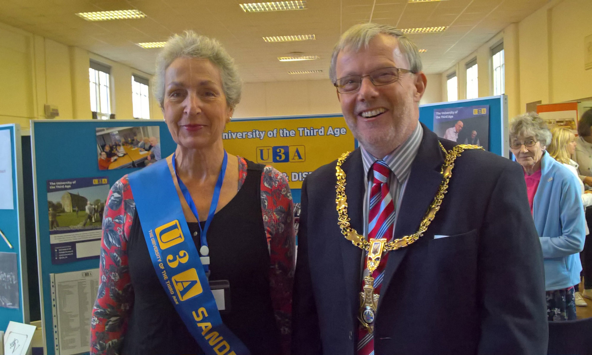 Lesley Farrar with Town Council Mayor Martin Forster