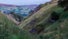 View from Cave Dale with Peveril Castle just visible